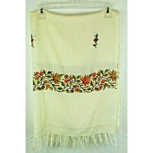 Tablecloth Tapestry Embroidered floral ivory green orange India